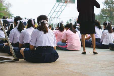 conscription: Thai students in school uniform at morning roll call
