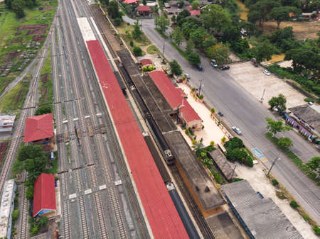 Thai train station with diesel locomotive on railway in Asian country 版權商用圖片