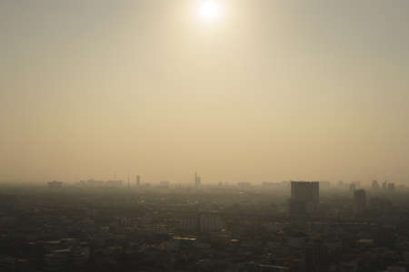 Bangkok, capital of Thailand with dust and smoke from air pollution problem