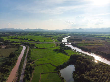 Yom river at Phrae province, North of Thailand with crop field and plantation 版權商用圖片
