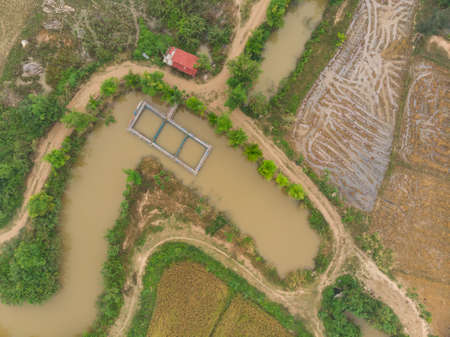 Fish farm cage system at Asian countryside river 版權商用圖片