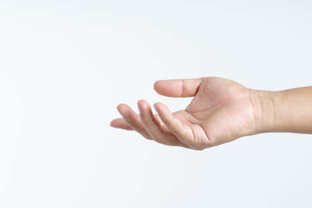 Hand with giving or sharing gesture on white background
