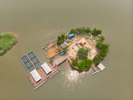 Thai submerged or underwater public temple, wat Tilok Aram at Phayao city lake, Thailand