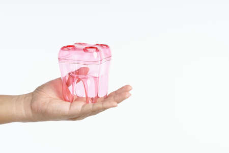 Hand holding teeth shape container for toothbrush holder on white background 版權商用圖片