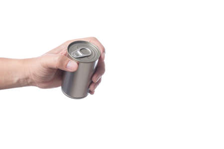 Hand holding tin or steel can made of aluminium for food on white background