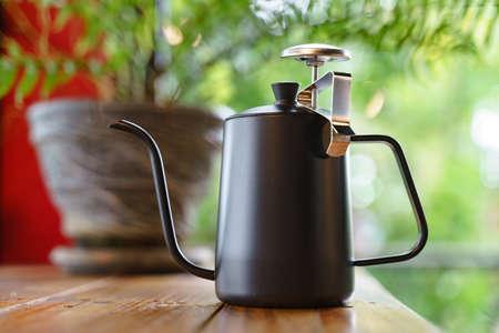 Black stainless steel coffee drip kettle jug with dip stick temperature gauge