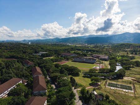Aerial shot of football stadium at Mae Fah Luang, public university of Chiangrai, Thailand