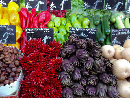 Colourful, organic vegetables displayed in the market Editorial