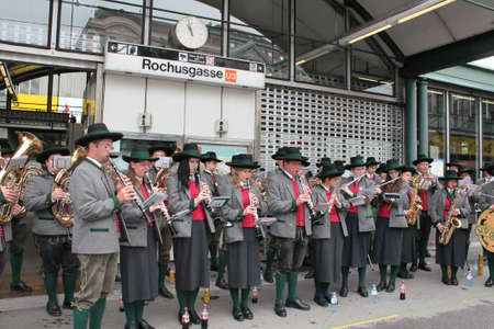 Vienna, Austria - 2 June 2012. Traditional concert band, playing at Rocusmarkt