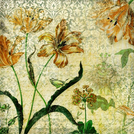 fabrick: retro background with flowers