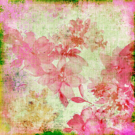 shabby paper with pink flowers photo