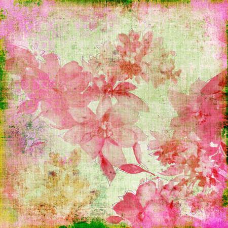 shabby papier met roze bloemen
