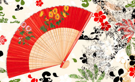 chinese fan: nice oriental background Stock Photo