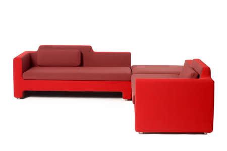stilish:                                 red soft  furniture set Stock Photo