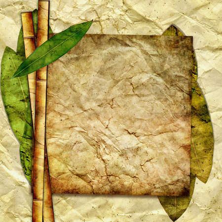 crumpled paper with bamboo and frame photo