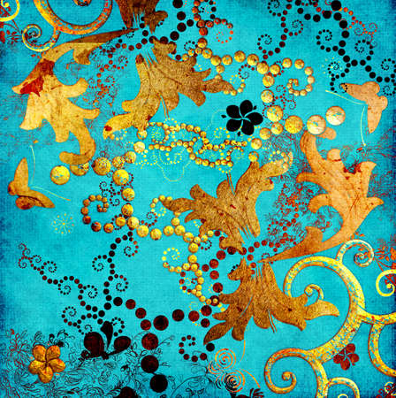 aquamarin: t�rkis-goldene Papier Lizenzfreie Bilder