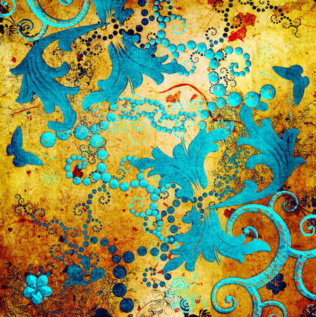 oriental style: decorative golden -blue abstraction