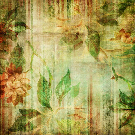 grubby: shabby fabrics with floral patterns Stock Photo