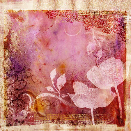 grubby: retro paper with poppy flowers