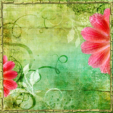 nice vintage paper with flower photo