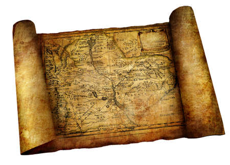 ancient map scroll Stock Photo