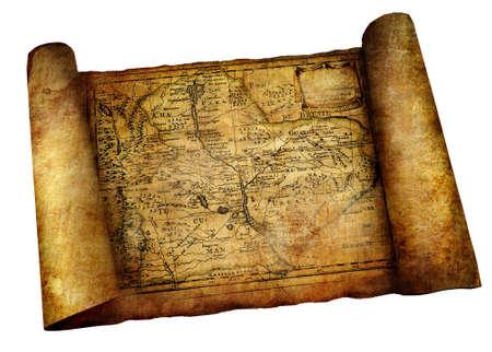 pergamino: desplazamiento antiguo mapa
