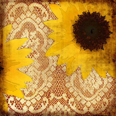 vintage background with sunflowers photo