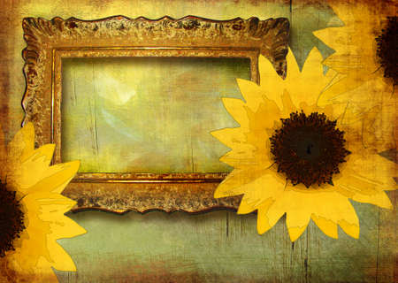 vintage frame with sunflowers photo