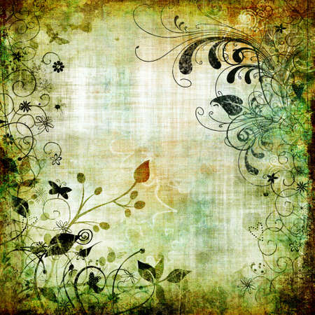grunge background with floral border
