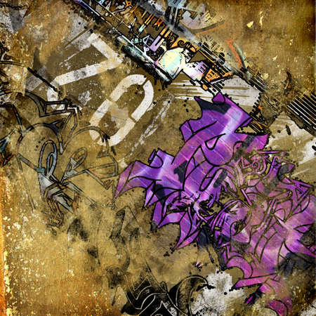 grunge background with graffity elements photo