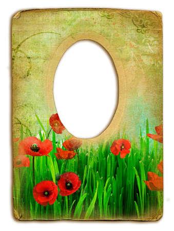 pretty retro frame with poppy flowers photo