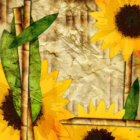 vintage background with sunflowers and bamboo photo