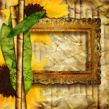 vintage background with sunflowers and blank frame photo