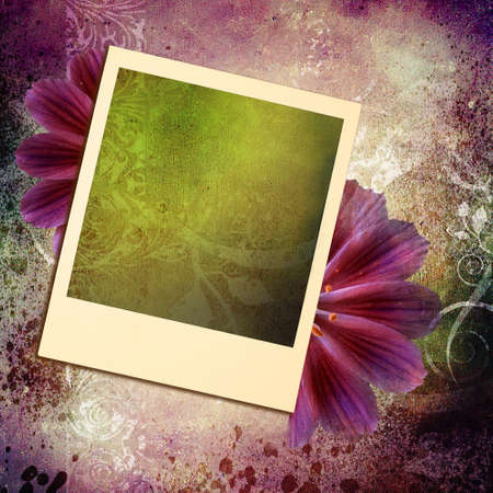 floral background with instant frame