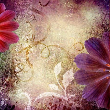 scrapbooking: floral background in violet colors