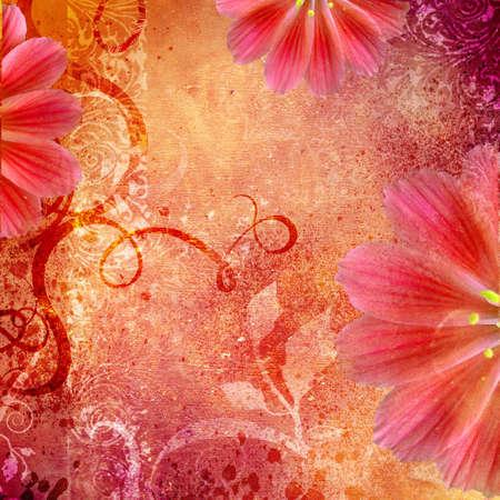 decoartive floral background in orange pink  colors