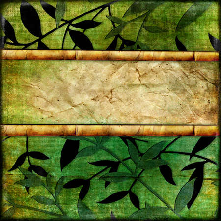 green bamboo paper with frame
