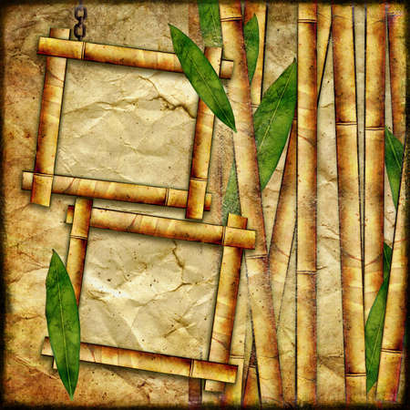 photoalbum: bamboo background with frames,