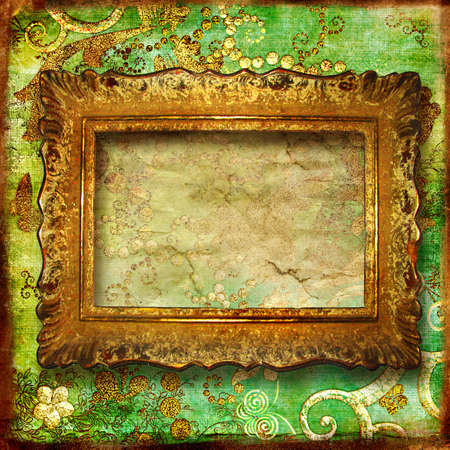 dirty room: vintage green background with antique frame  Stock Photo