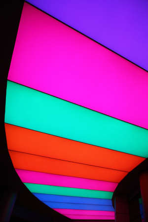 light box: Multi-colored LED light box in the ceiling as a lamp at night