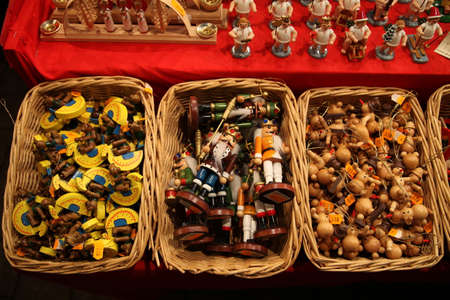 stock photo traditional german wooden christmas decorations in a wicker basket on a christmas fair