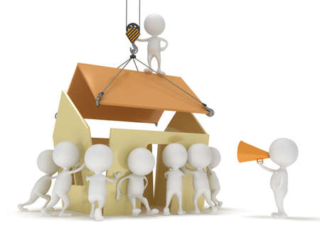 3D people build a house  Business, teamwork, assembling real estate concept