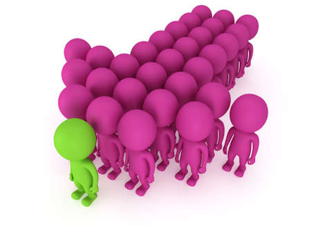 Group of stylized pink people with green teamleader stand on white in arrow form. Isolated 3d render icon. Teamwork, business, army, out of crowd concept.