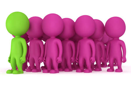 allocated on white: Group of stylized pink people with green teamleader stand on white in arrow form. Isolated 3d render icon. Teamwork, business, army, out of crowd concept.