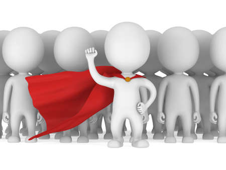 Brave superhero with raised fist stand before a crowd. Isolated on white 3d render. Leader, out of crowd concept.