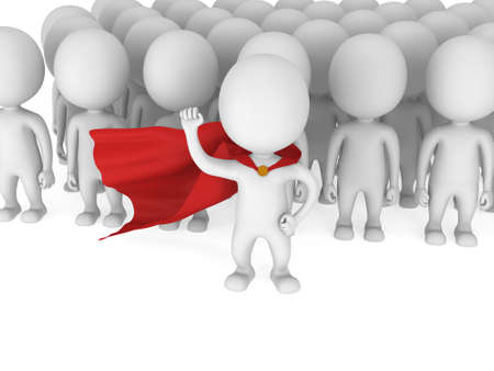 pathetic: Brave superhero with raised fist stand before a crowd. Isolated on white 3d render. Leader, out of crowd concept.