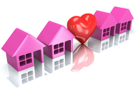 row of houses: Real estate, rent, building, home, love concept. Row of pink houses with red heart. 3d render icon. Stock Photo