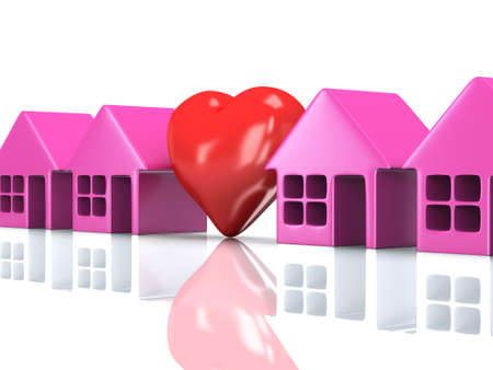 row houses: Real estate, rent, building, home, love concept. Row of pink houses with red heart. 3d render icon. Stock Photo