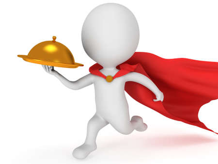Brave superhero waiter with gold tray and red cloak runs to quickly deliver meal under cloche or dome. Isolated on white 3d render. Delivery concept. photo