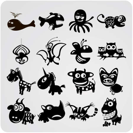 set of funny vector contour animals Vector